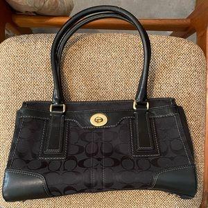 EUC Coach black on black canvas bag